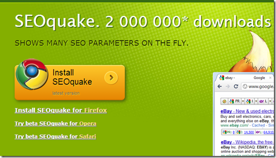 SEOquake for free keyword check