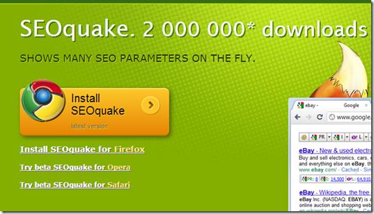 SEOquake for free keyword check